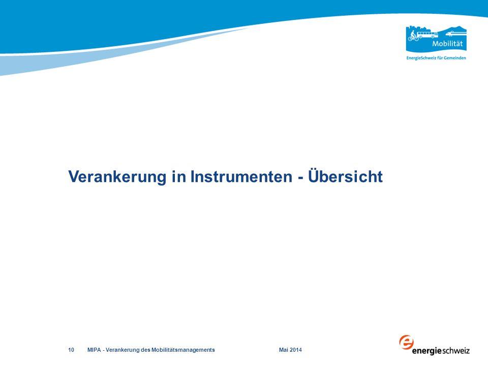 Verankerung in Instrumenten - Übersicht