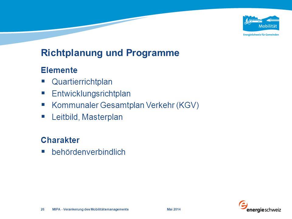 Richtplanung und Programme