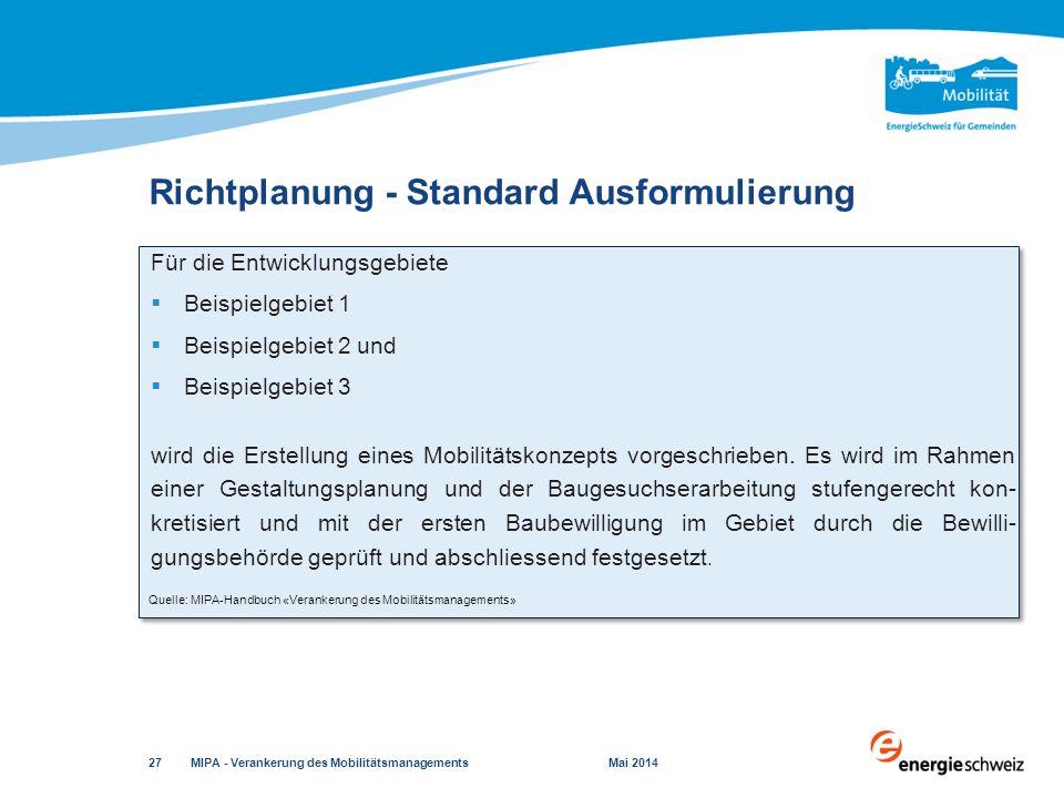 Richtplanung - Standard Ausformulierung