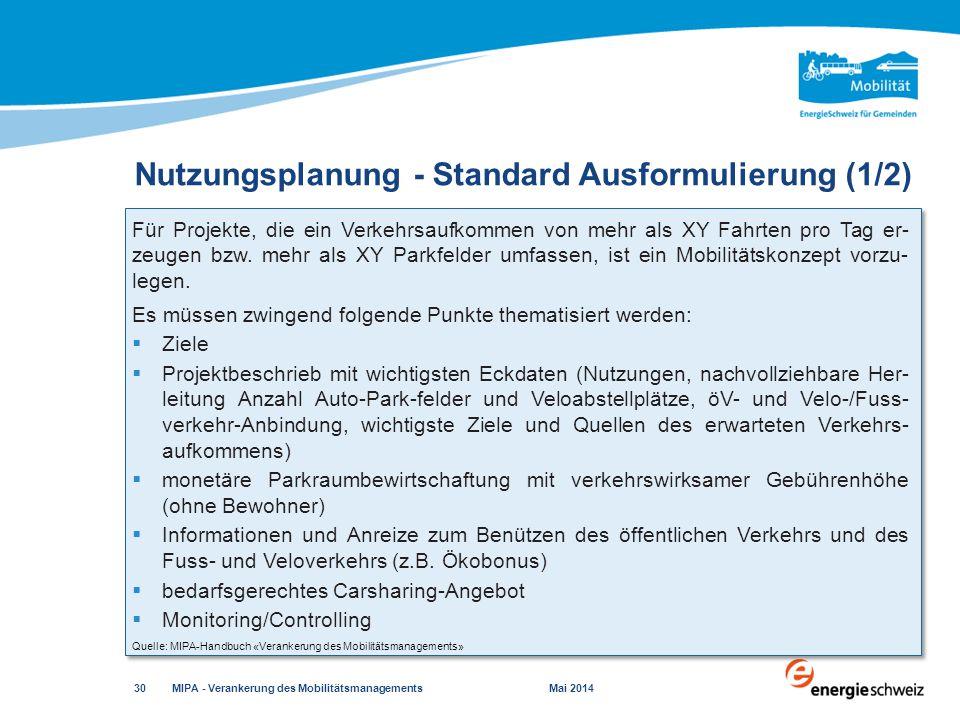 Nutzungsplanung - Standard Ausformulierung (1/2)