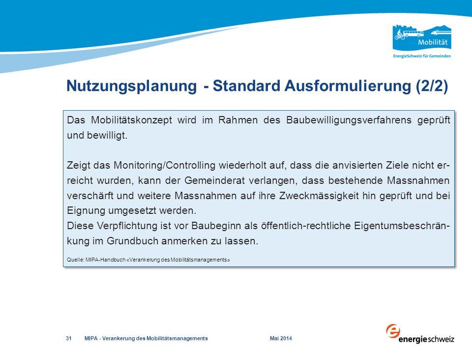 Nutzungsplanung - Standard Ausformulierung (2/2)