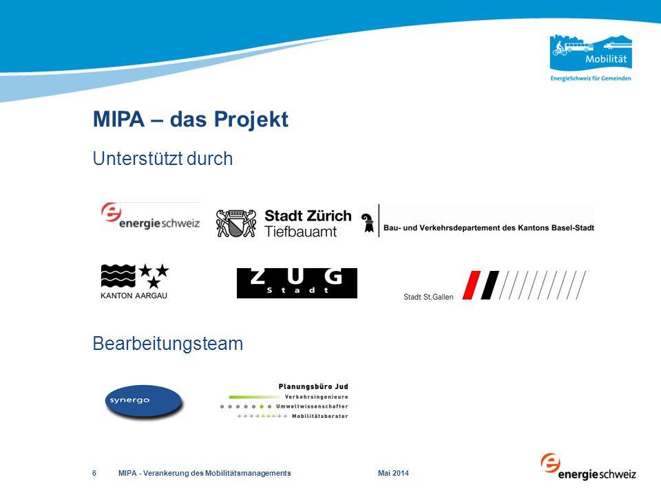 MIPA – das Projekt Unterstützt durch Bearbeitungsteam