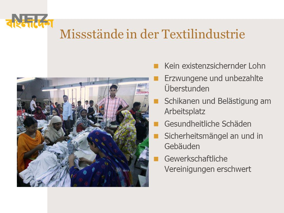Missstände in der Textilindustrie