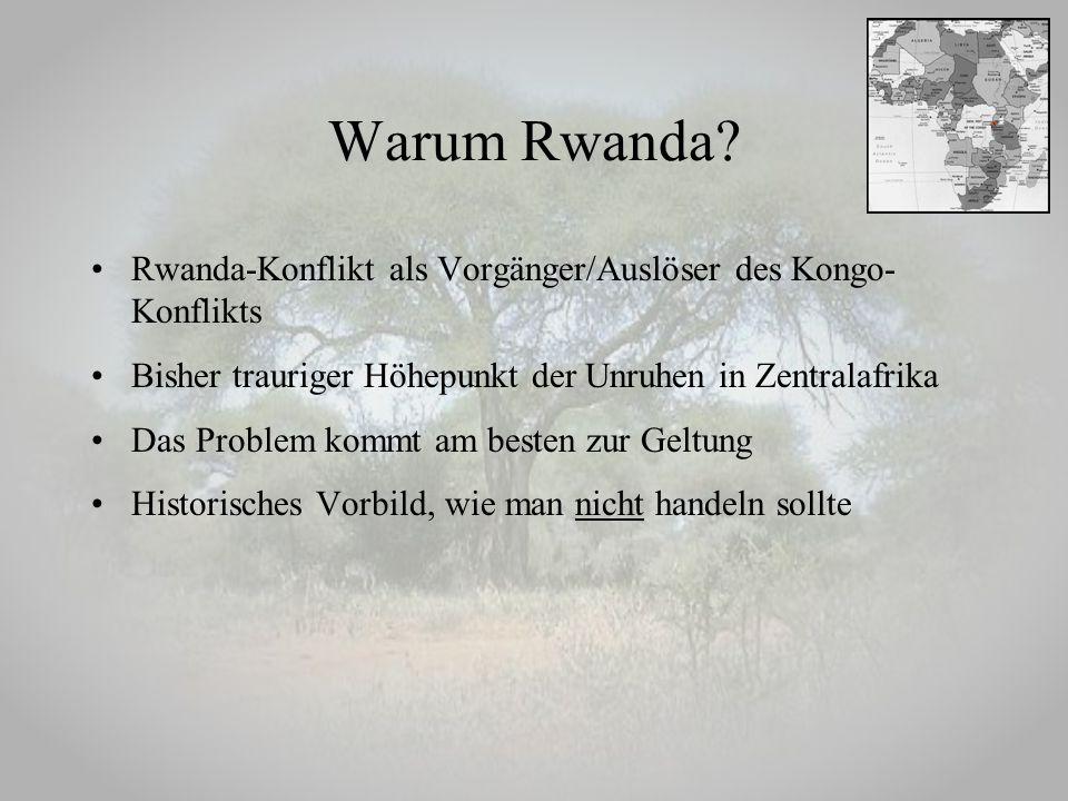 Warum Rwanda Rwanda-Konflikt als Vorgänger/Auslöser des Kongo-Konflikts. Bisher trauriger Höhepunkt der Unruhen in Zentralafrika.