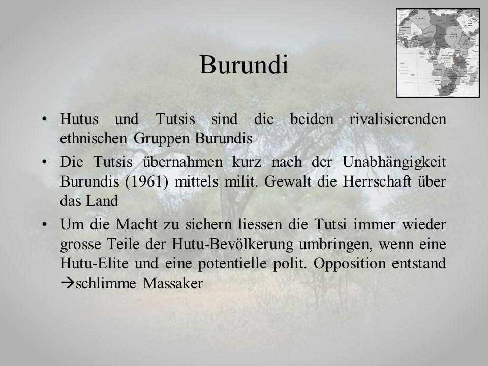 Burundi Hutus und Tutsis sind die beiden rivalisierenden ethnischen Gruppen Burundis.