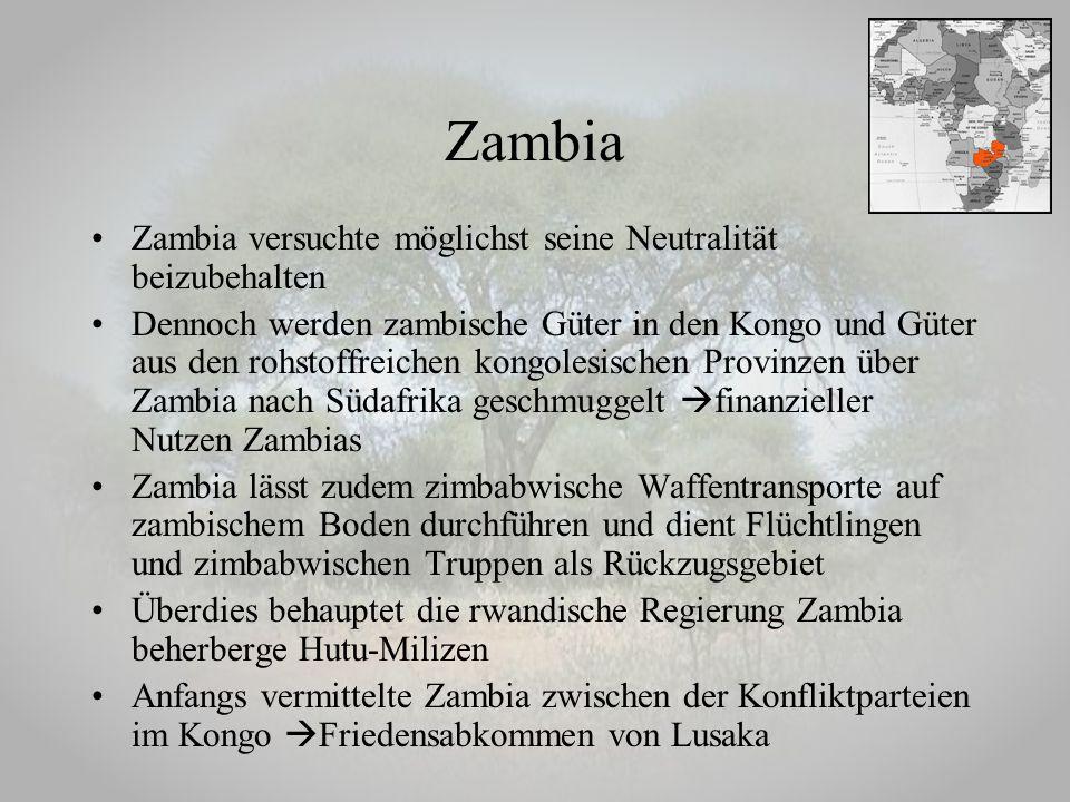 Zambia Zambia versuchte möglichst seine Neutralität beizubehalten
