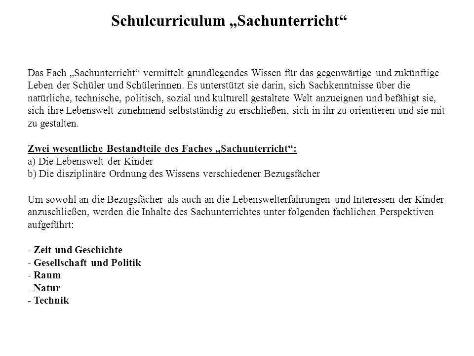 "Schulcurriculum ""Sachunterricht"