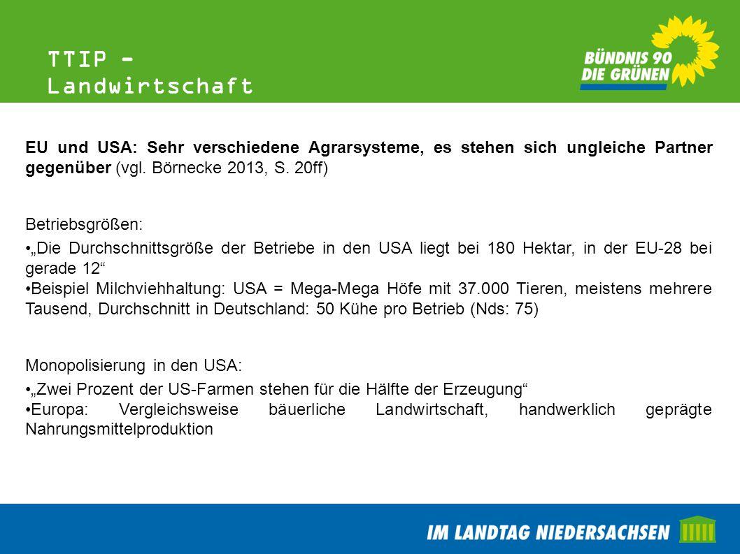 TTIP - Landwirtschaft EU und USA: Sehr verschiedene Agrarsysteme, es stehen sich ungleiche Partner gegenüber (vgl. Börnecke 2013, S. 20ff)