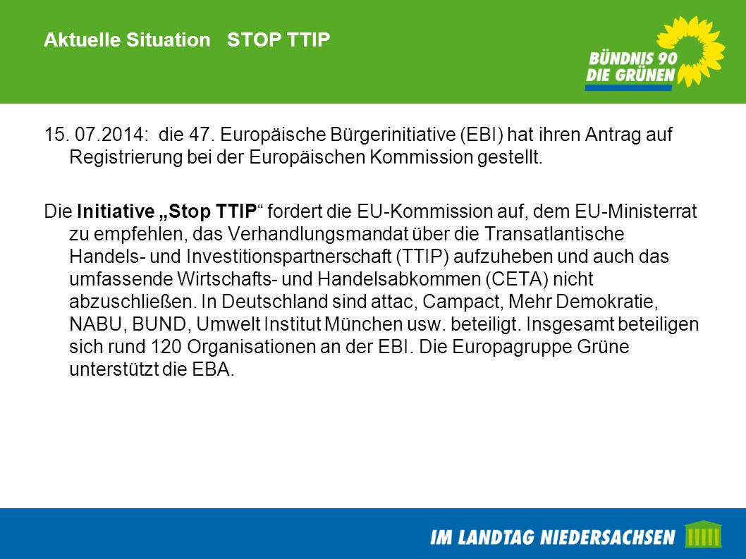 Aktuelle Situation STOP TTIP