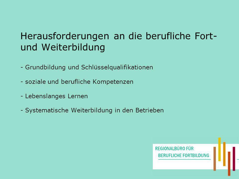 Herausforderungen an die berufliche Fort- und Weiterbildung - Grundbildung und Schlüsselqualifikationen - soziale und berufliche Kompetenzen - Lebenslanges Lernen - Systematische Weiterbildung in den Betrieben