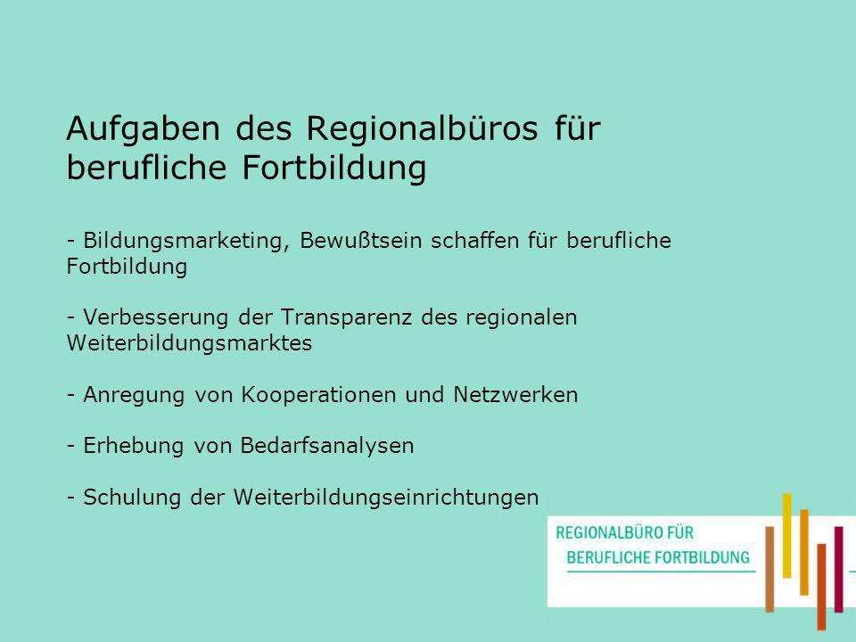 Aufgaben des Regionalbüros für berufliche Fortbildung - Bildungsmarketing, Bewußtsein schaffen für berufliche Fortbildung - Verbesserung der Transparenz des regionalen Weiterbildungsmarktes - Anregung von Kooperationen und Netzwerken - Erhebung von Bedarfsanalysen - Schulung der Weiterbildungseinrichtungen