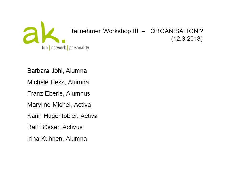 Teilnehmer Workshop III – ORGANISATION (12.3.2013)