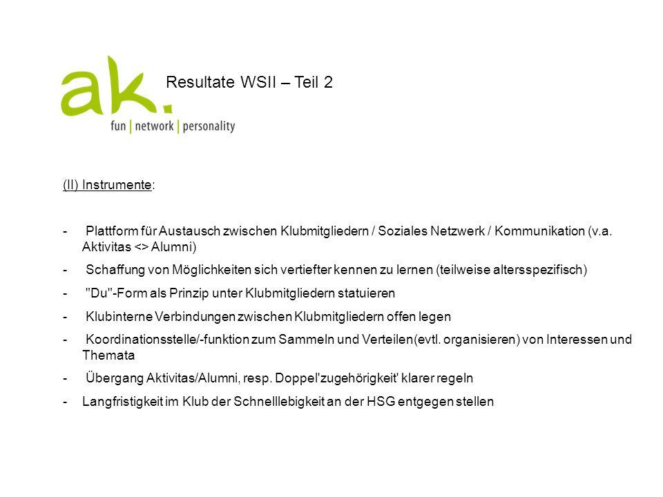 Resultate WSII – Teil 2 (II) Instrumente: