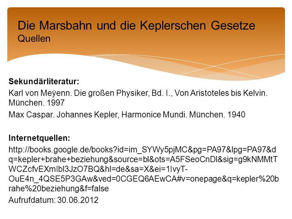 Die Marsbahn und die Keplerschen Gesetze Quellen
