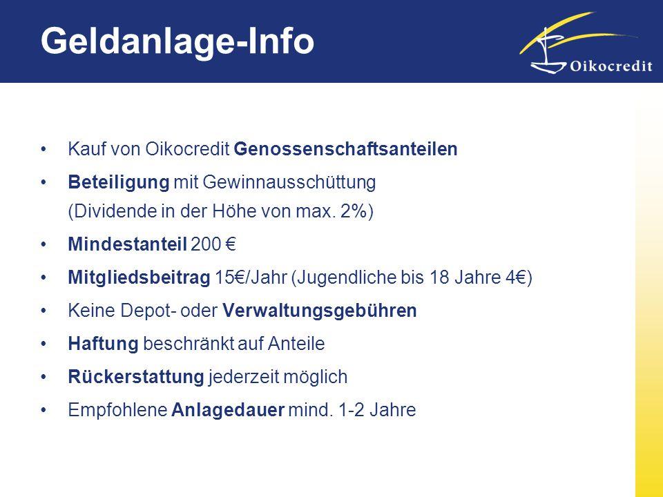 Geldanlage-Info Kauf von Oikocredit Genossenschaftsanteilen