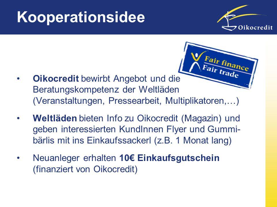 Kooperationsidee Oikocredit bewirbt Angebot und die Beratungskompetenz der Weltläden (Veranstaltungen, Pressearbeit, Multiplikatoren,…)