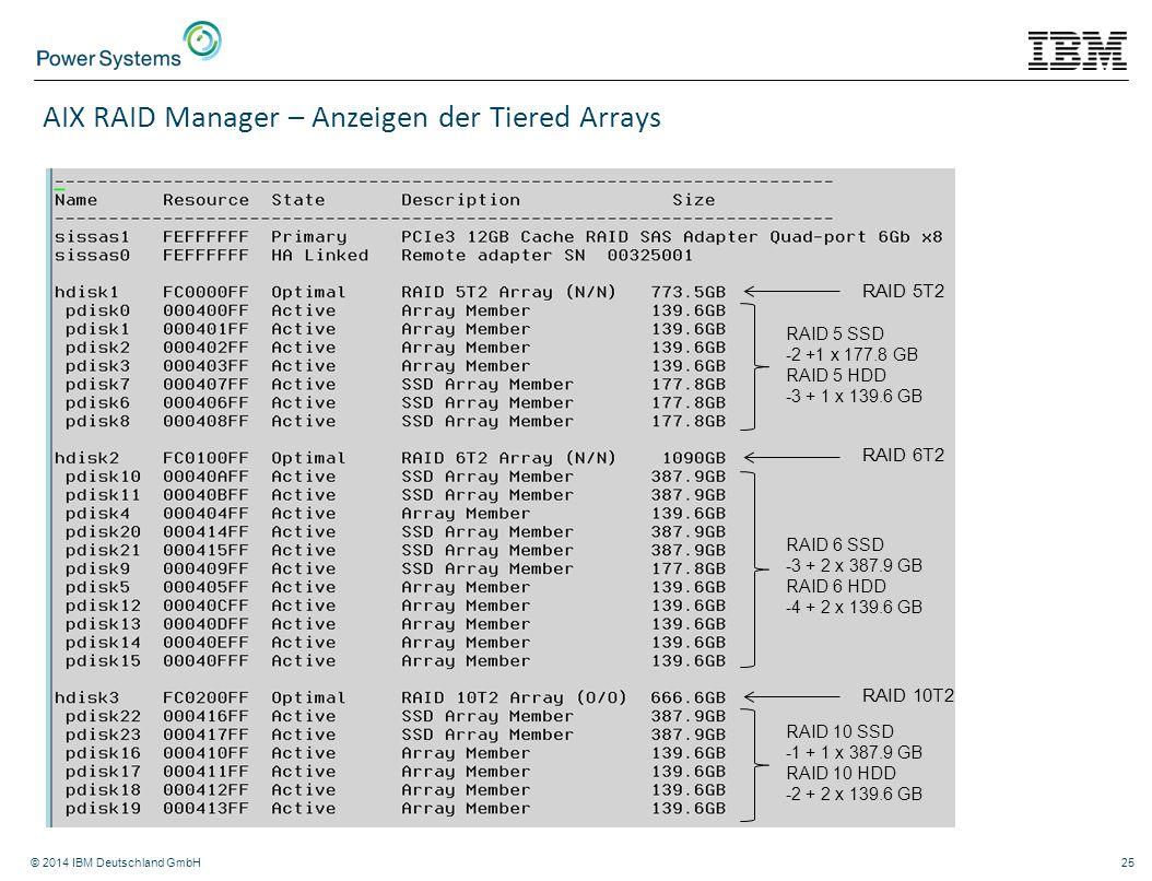 AIX RAID Manager – Anzeigen der Tiered Arrays