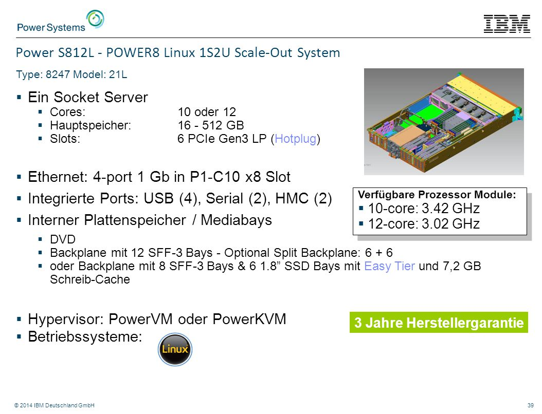 Power S812L - POWER8 Linux 1S2U Scale-Out System