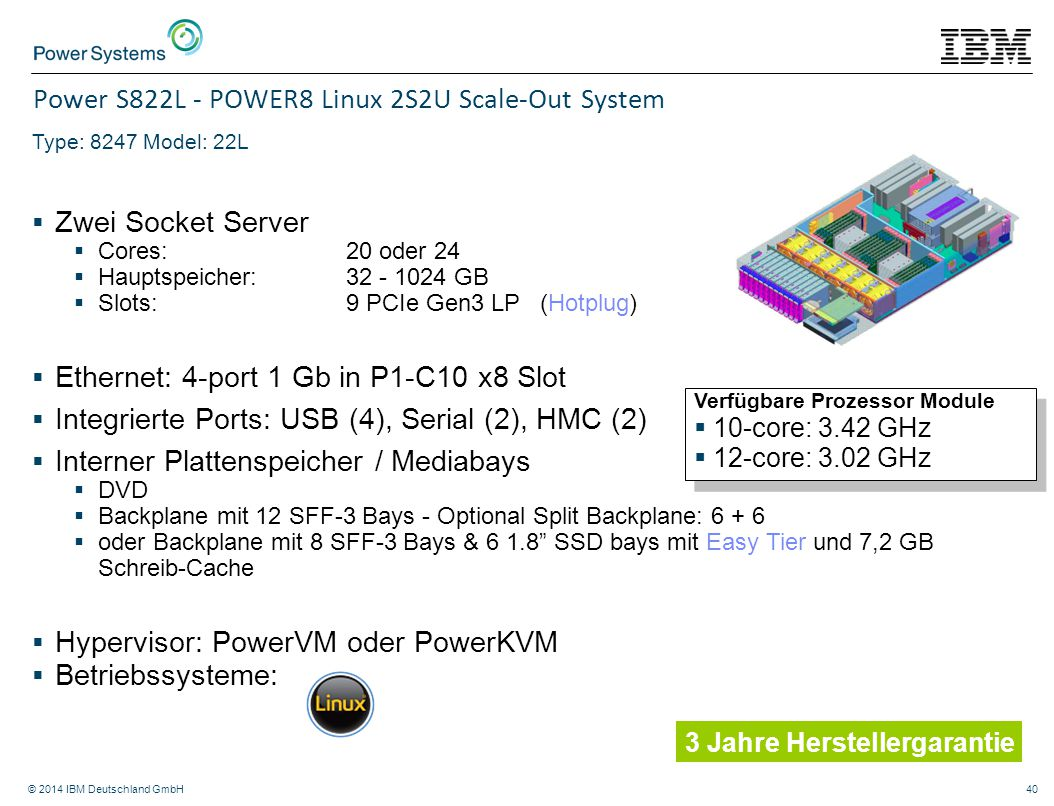 Power S822L - POWER8 Linux 2S2U Scale-Out System