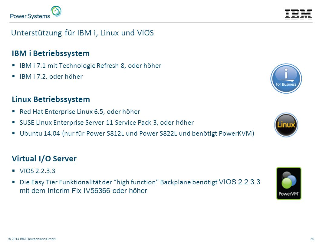 Unterstützung für IBM i, Linux und VIOS