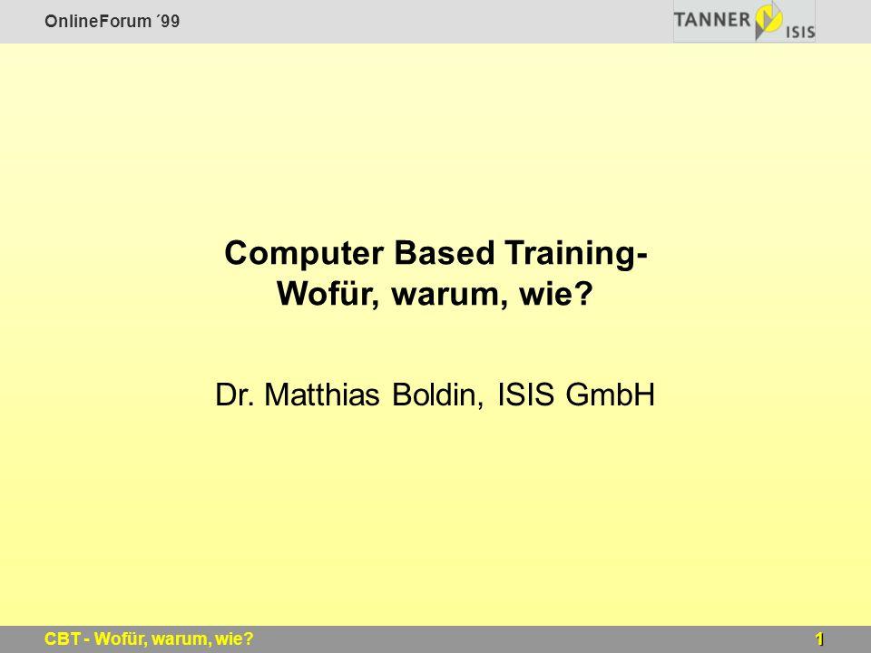 Computer Based Training- Wofür, warum, wie