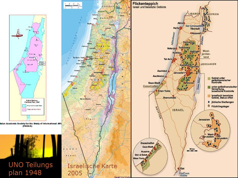 UNO Teilungs plan 1948 Israelische Karte 2005