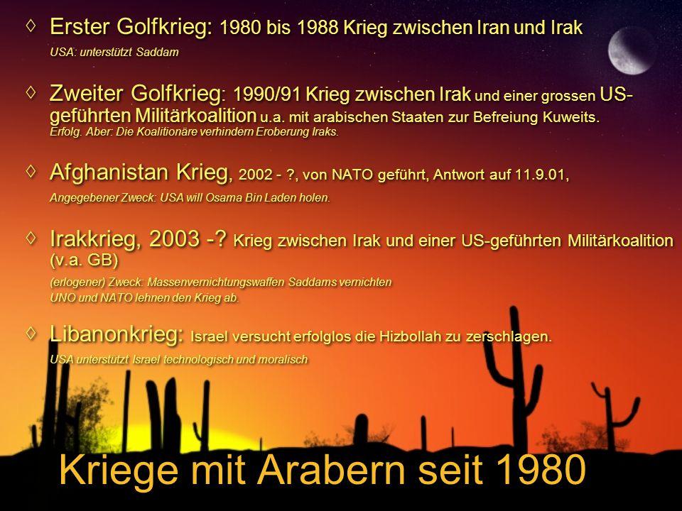 Kriege mit Arabern seit 1980