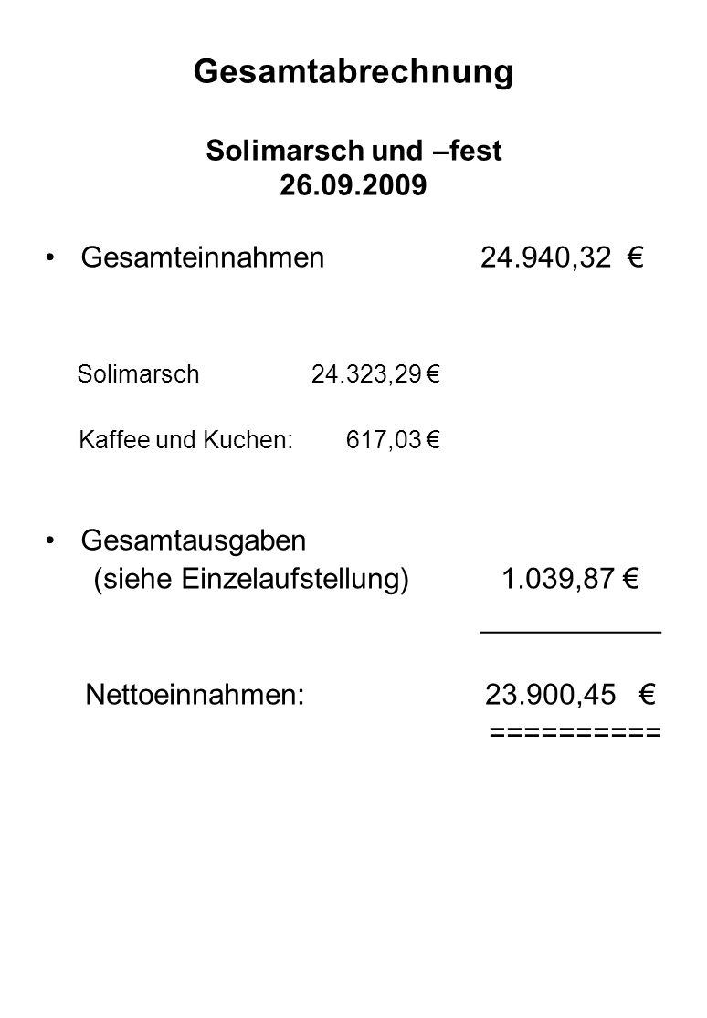 Gesamtabrechnung Solimarsch und –fest 26.09.2009