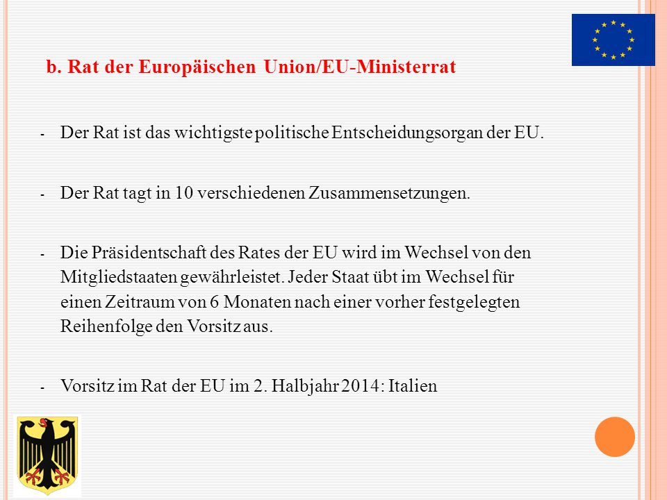 b. Rat der Europäischen Union/EU-Ministerrat