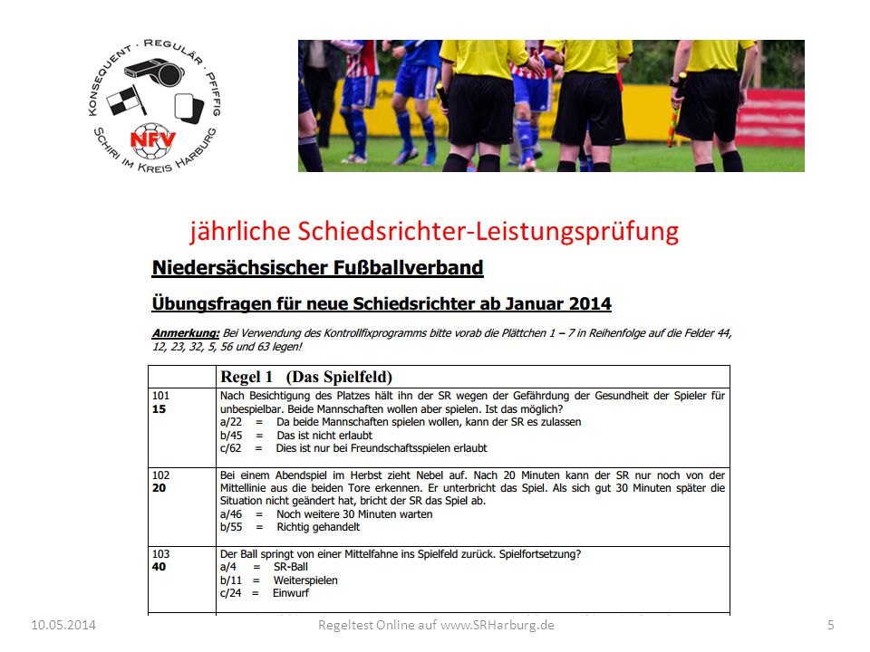 jährliche Schiedsrichter-Leistungsprüfung