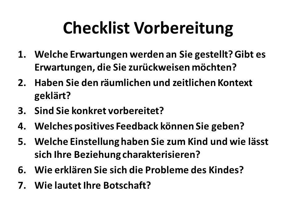 Checklist Vorbereitung