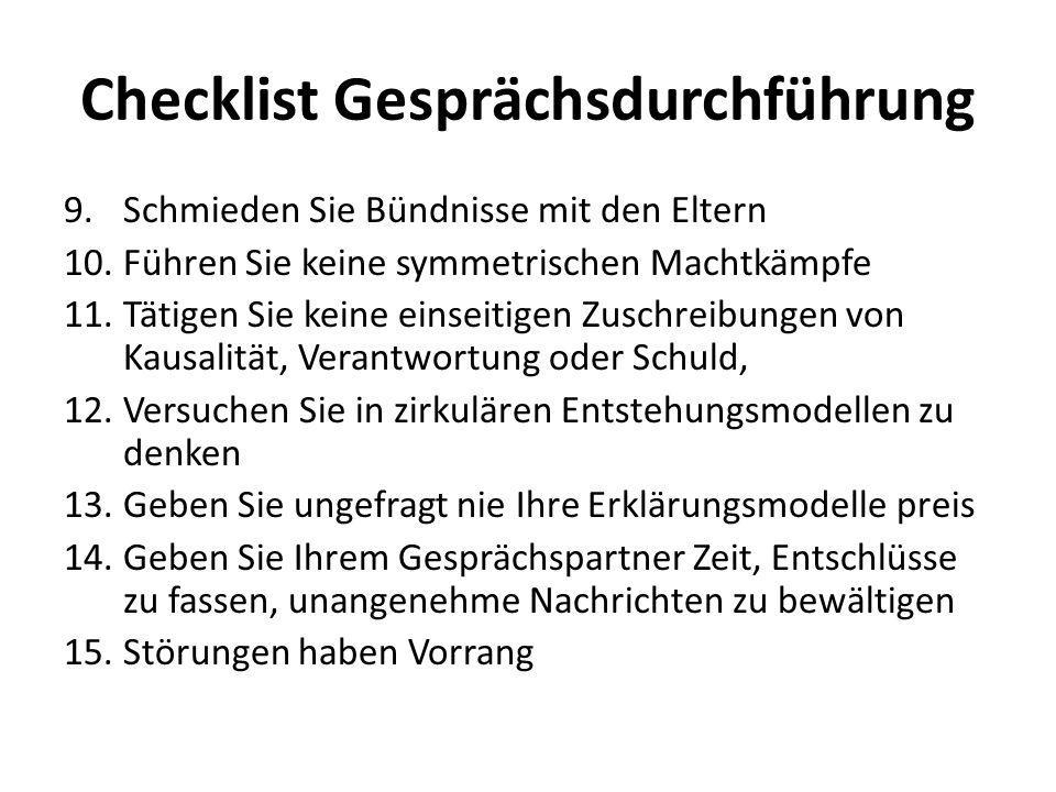 Checklist Gesprächsdurchführung