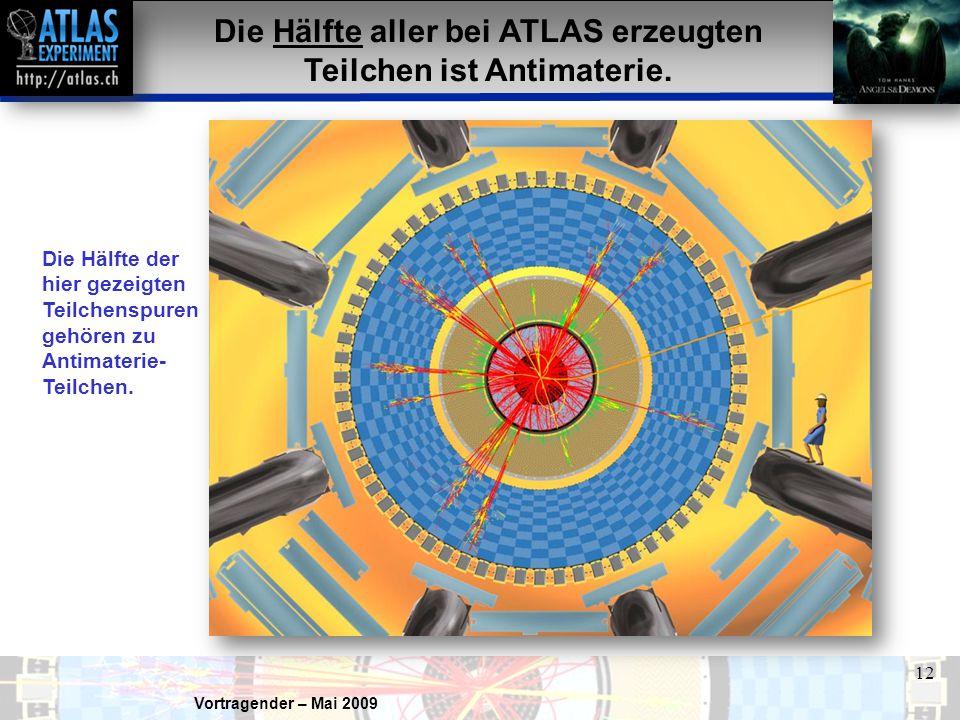 Die Hälfte aller bei ATLAS erzeugten Teilchen ist Antimaterie.