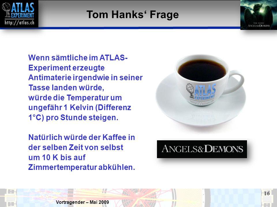 Tom Hanks' Frage Wenn sämtliche im ATLAS-Experiment erzeugte Antimaterie irgendwie in seiner Tasse landen würde,