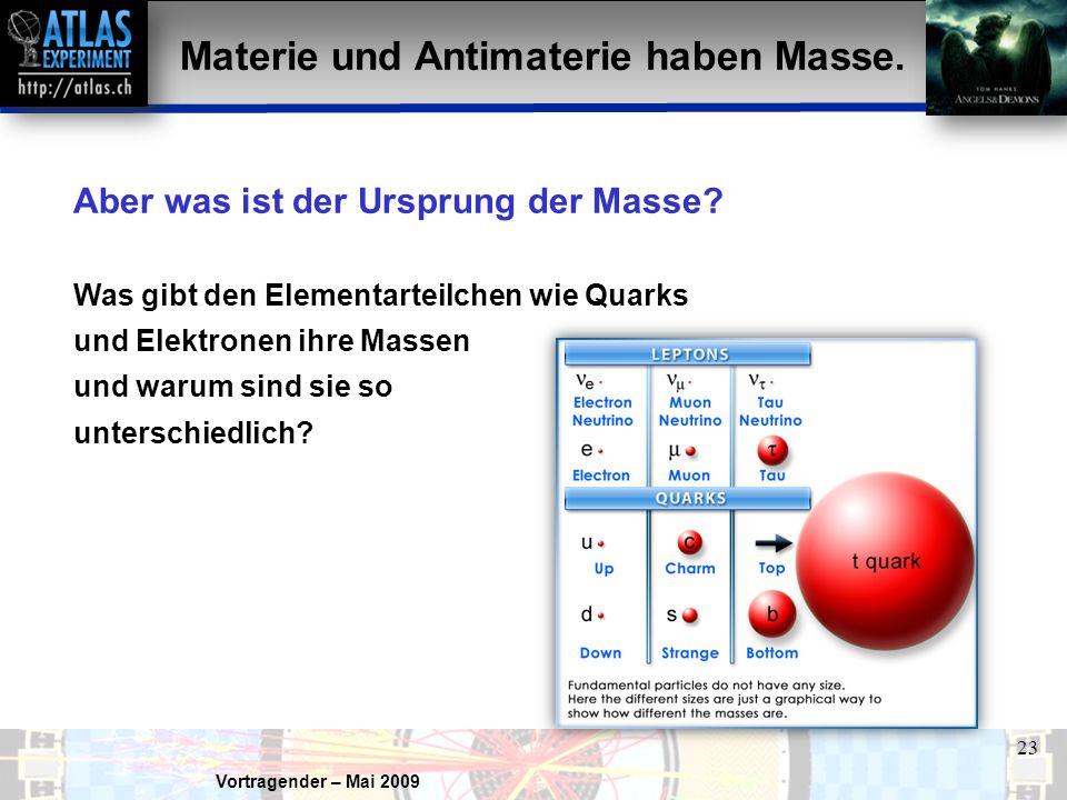 Materie und Antimaterie haben Masse.