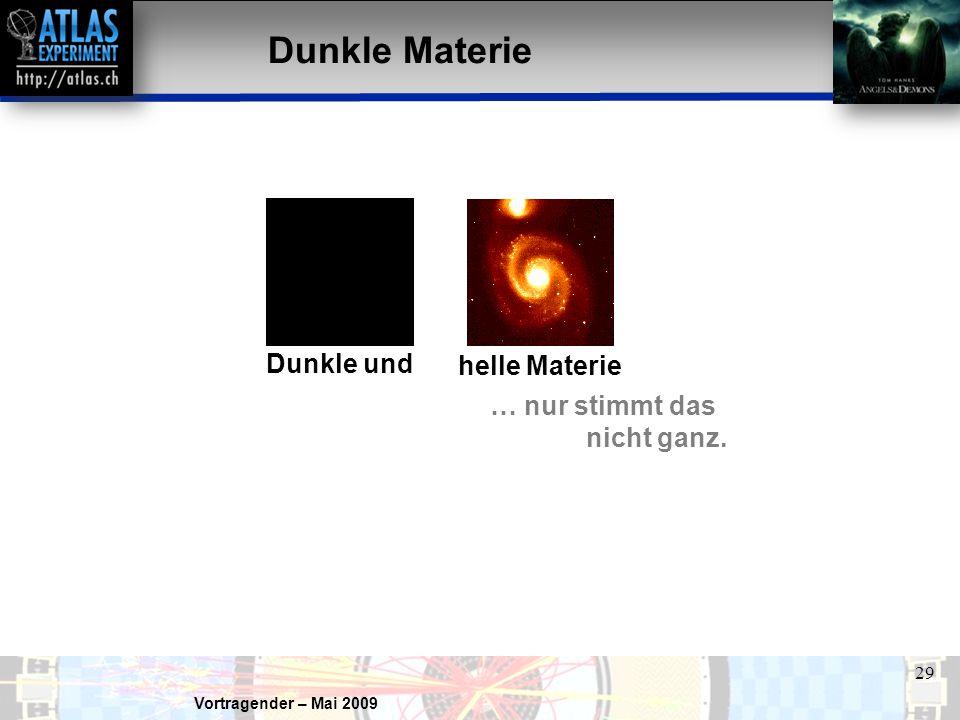 Dunkle Materie Dunkle und helle Materie … nur stimmt das nicht ganz.