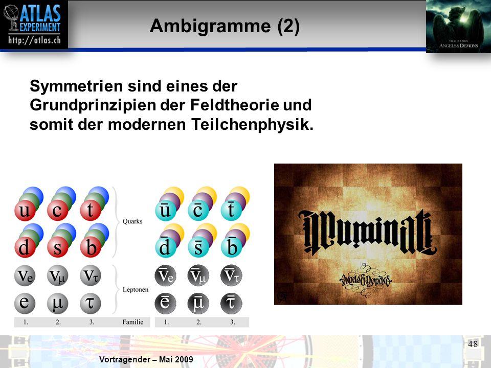 Ambigramme (2) Symmetrien sind eines der Grundprinzipien der Feldtheorie und somit der modernen Teilchenphysik.