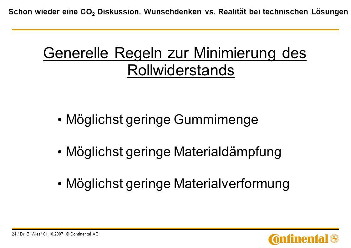 Generelle Regeln zur Minimierung des Rollwiderstands