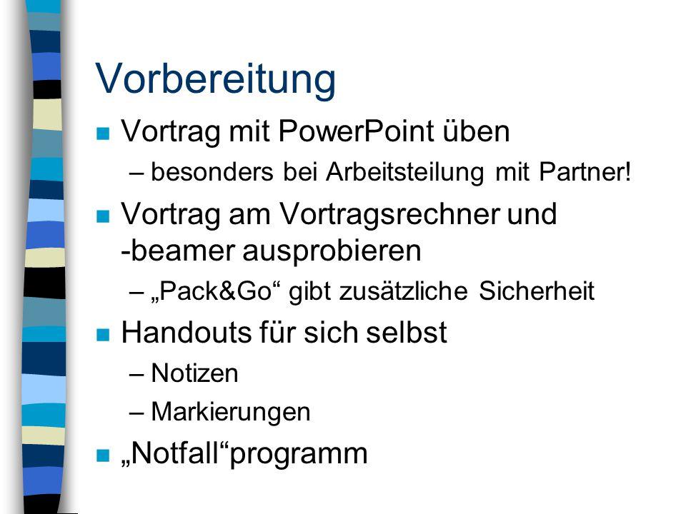 Vorbereitung Vortrag mit PowerPoint üben