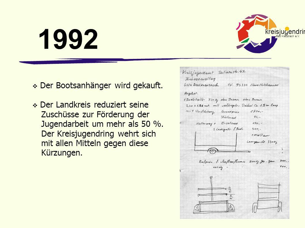 1992 Der Bootsanhänger wird gekauft.