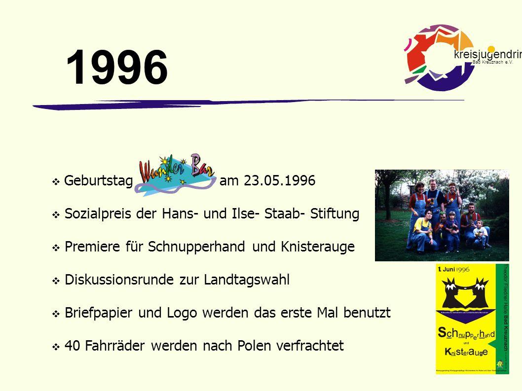 1996 Geburtstag am 23.05.1996. Sozialpreis der Hans- und Ilse- Staab- Stiftung. Premiere für Schnupperhand und Knisterauge.