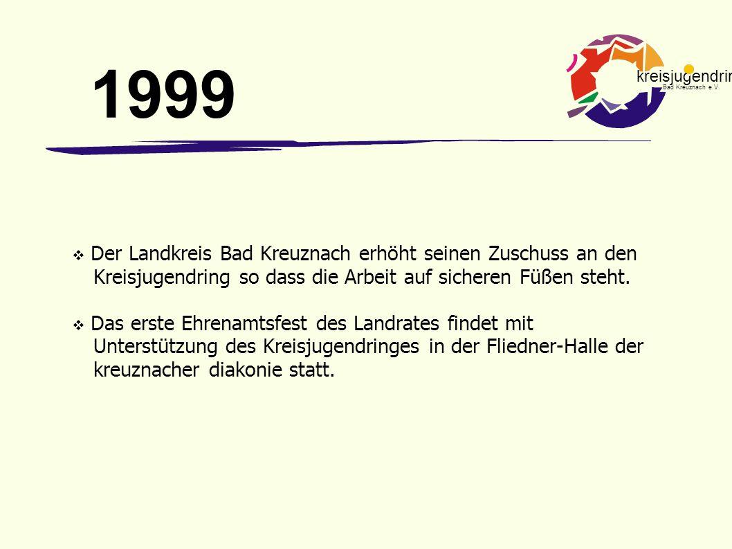 1999 Der Landkreis Bad Kreuznach erhöht seinen Zuschuss an den Kreisjugendring so dass die Arbeit auf sicheren Füßen steht.