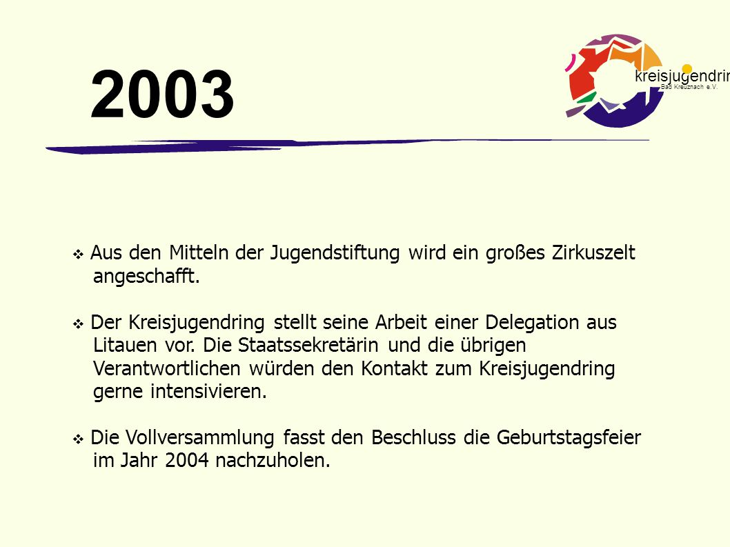 2003 Aus den Mitteln der Jugendstiftung wird ein großes Zirkuszelt angeschafft.