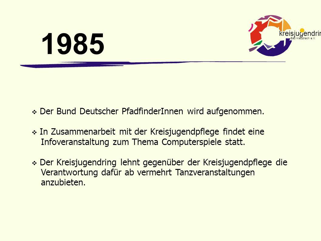 1985 Der Bund Deutscher PfadfinderInnen wird aufgenommen.