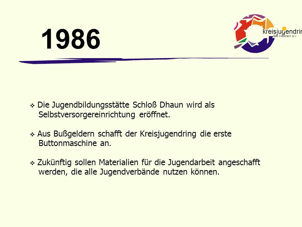 1986 Die Jugendbildungsstätte Schloß Dhaun wird als Selbstversorgereinrichtung eröffnet.