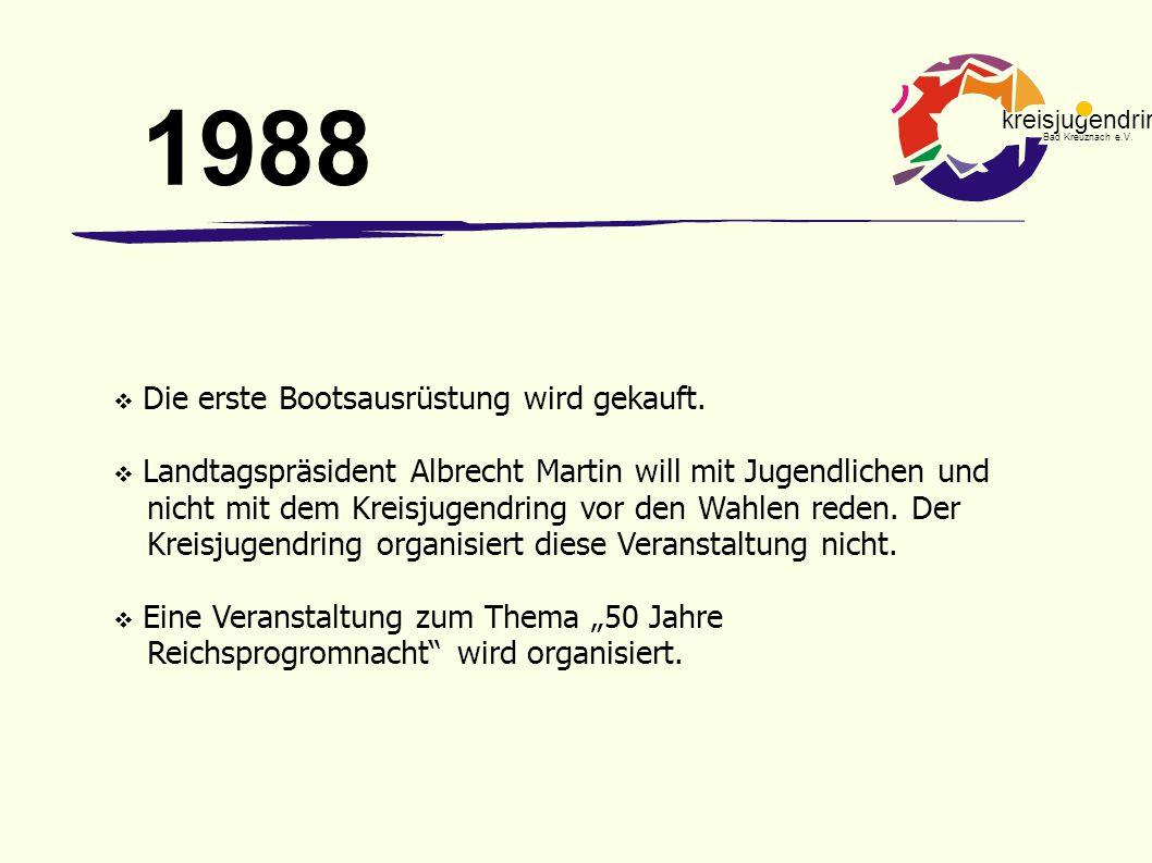 1988 Die erste Bootsausrüstung wird gekauft.