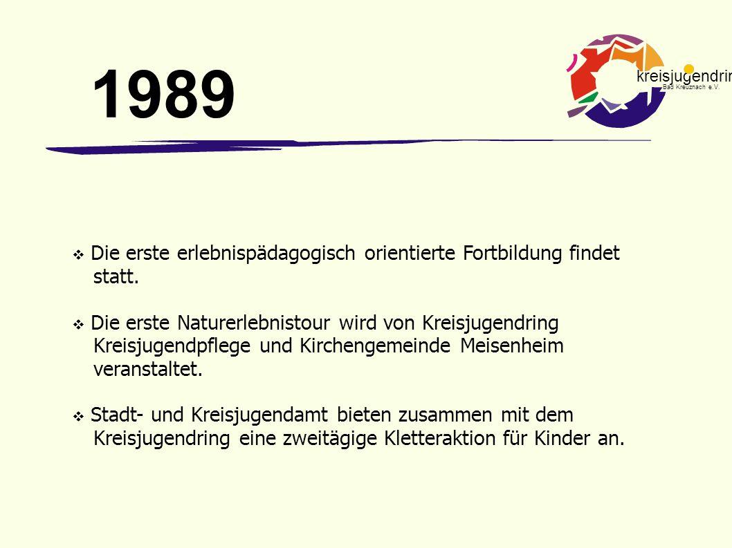 1989 Die erste erlebnispädagogisch orientierte Fortbildung findet statt.