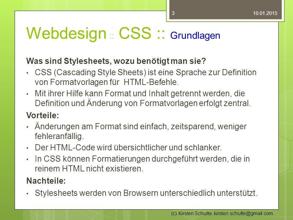 Webdesign :: CSS :: Grundlagen