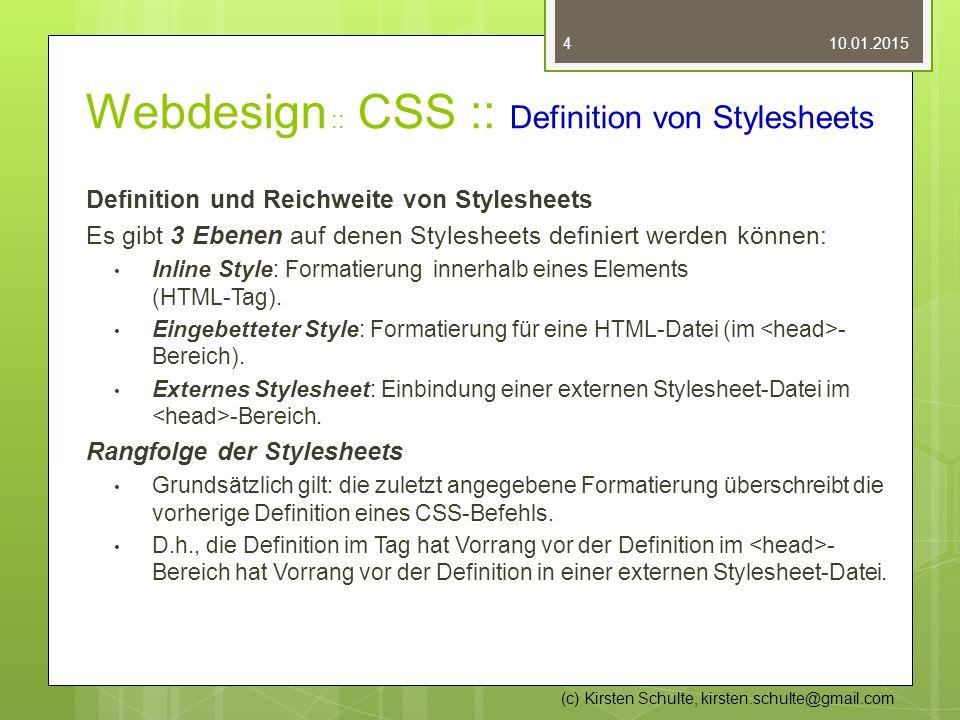 Webdesign :: CSS :: Definition von Stylesheets