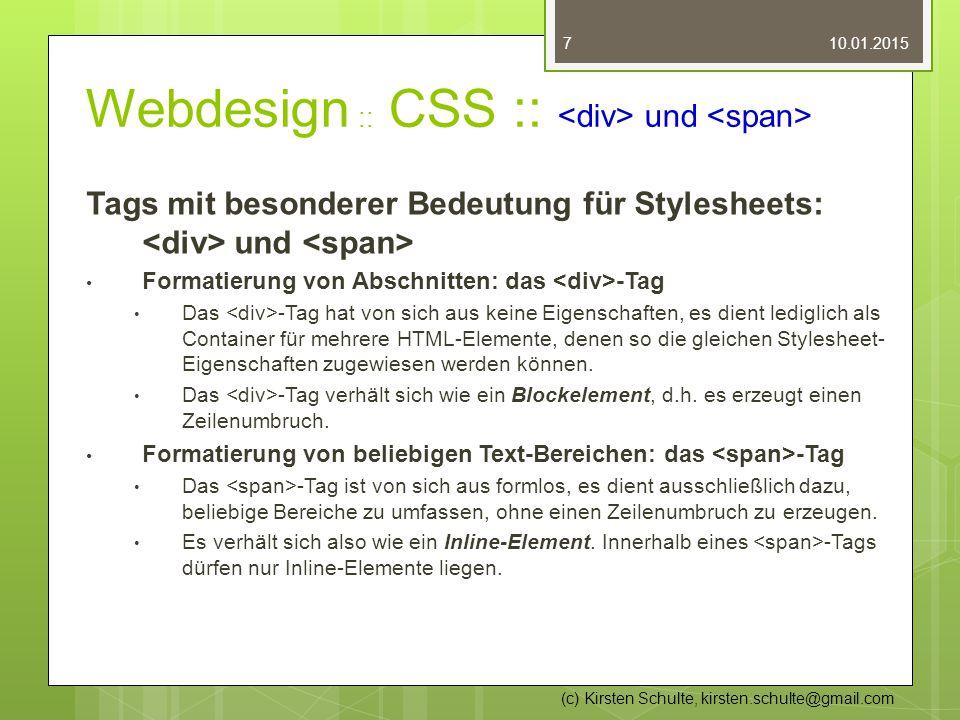 Webdesign :: CSS :: <div> und <span>